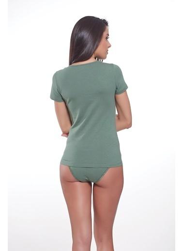 Sevim Renkli T-Shirt Yeşil